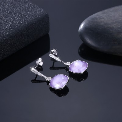 Tinnivi Cushion Cut Purple Austrian Crystal Sterling Silver Dangle Earrings