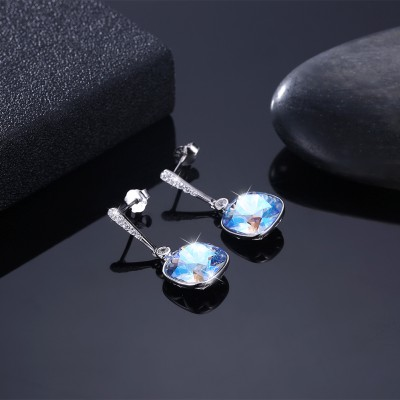 Tinnivi Cushion Cut Blue Austrian Crystal Sterling Silver Dangle Earrings